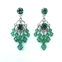 Green Swarovski Crystal Chandelier Drop earrings Bridesmaid Mother of Bride Prom