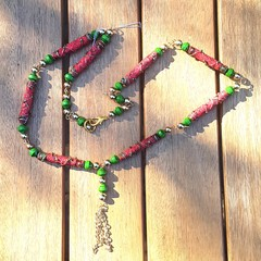Necklace. Boho Gypsy wire wrapped fabric beads in red and green, extra long