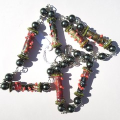 Boho Gypsy wire wrapped fabric beads in red, green and pink
