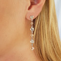 Pale Pink Swarovski Crystal Drop Earrings Bridesmaid Wedding Prom Formal Earring