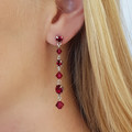 Ruby Swarovski Crystal Drop Earrings Bridesmaid Wedding Bride Prom Formal