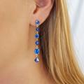 Blue Swarovski Crystal Drop Earrings Bridesmaid Wedding Prom Formal Bridal