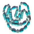 Sustainable Eggshell and wooden bead necklace in stunning blue extremely light