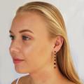 Brown Swarovski Crystal Drop Earrings Bridesmaid Wedding Prom Formal Bride