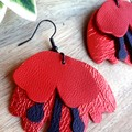 Remembrance Poppy Flower, Genuine Leather Dangle or Stud Earrings, Red/Black