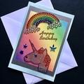 'Jewelled Unicorn and Rainbow' Birthday Card