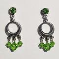 Teal Green Swarovski Crystal Drop Earrings Petrol Green Earring Prom Formal