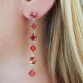 Peach Swarovski Crystal Drop Earrings Bridesmaid Wedding Prom Formal Bridal