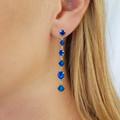 Capri Blue Swarovski Crystal Drop Earrings Bridesmaid Wedding Prom Formal