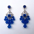 Blue Swarovski crystal Drop Earrings Bridesmaid Prom Formal Special Occasion