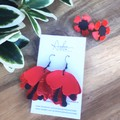 """Remembrance Poppy"" Flower, Genuine Leather Dangle or Stud Earrings, Red/Black"
