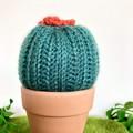 Mini Dark Green Crochet Cactus