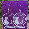 Crystal Ball Earrings with Cat and Night Sky - Engraved Clear acrylic earrings