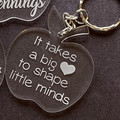 Teachers Gift Apple Keyring - Thank You Gift - Personalised Key Ring Key Chain