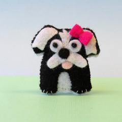 Maltese Shih Tzu dog brooch, felt dog, felt brooch, gift for dog lover
