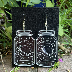 Wish Jar Earrings with Shooting Stars and Planet - Engraved Clear Acrylic