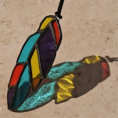 Stained Glass Rainbow Feather Suncatcher 14cmx5cm
