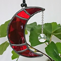 Blood Moon Stained Glass Suncatcher 10 x 3cm with Swarovski Crystal