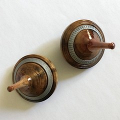 Two Turned 'Dead Finish' Spinning Tops (Items DF 122 a & b)