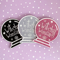 Witchy Woman Crystal Ball Acrylic Brooch - Acrylic Brooches