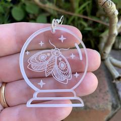 Crystal Ball Earrings with Moth - Engraved Clear acrylic earrings