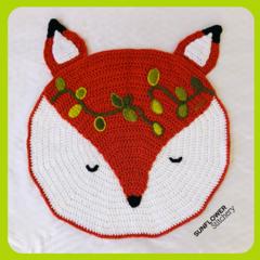 Fox Crochet Floor Rug