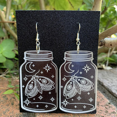 Night Sky Jar Earrings with Moth - Engraved Clear acrylic earrings