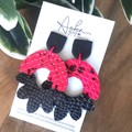 Genuine Leather/ Clay Earrings, Hot Pink/Black Snakeskin