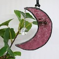 Moon Stained Glass Suncatcher 10 x 3cm with Swarovski Crystal