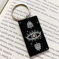 Pentagram and Crystal Eye Keyrings - Engraved Acrylic Keyrings Key Chains