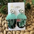 Recycled Mint Black Monstera Plant Dangles | Unique | Gift for women