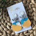 Recycled Yellow Blue Beach Boho Sea Sand Shell Acrylic Silver Glitter Dangles |