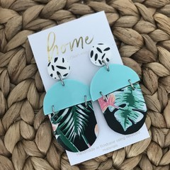Recycled Mint Black Monstera Plant Dangles   Unique   Gift for women