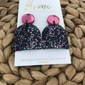 Recycled Pink Black Green Blue Glitter Arch Acrylic Dangles | Ecofriendly