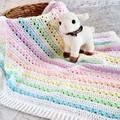 Pastel Rainbow of Colours  Newborn Hand Crocheted Baby Blanket