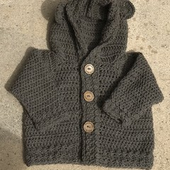 Crochet Toddler Bear Hoodie Jacket size 1-2 years
