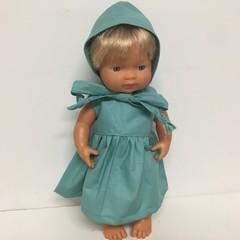 Miniland and Minikane Dolls  Dress and Bonnet to fit 38cm Dolls