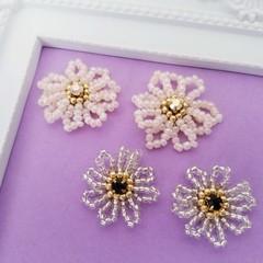 Flower beads earrings, Beads stitch earrings, Beads stud earring,