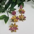 Daisy Drop Mustard Gold Sparkle Resin - Stud Dangle earrings