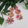 Daisy Drop Pinky Pink Gold Sparkle Resin - Stud Dangle earrings