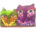 Brooch Oh so cute cats, green / purple, ideal as a stocking filler-free postage