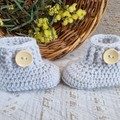 Grey Handmade Crochet Knitted Newborn Cable Pompom Baby Beanie Hat & Booties