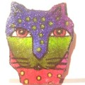 Brooch Oh so cute cat, purple and green, ideal as a stocking filler-free postage