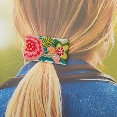 Froral embroidered ribbon hair clip, French barrette, Alligator hair clip,