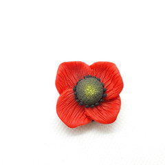 Red Poppy Brooch for Anzac Day, Lest We Forget