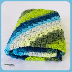 Crochet Baby Blanket - Blues and Green