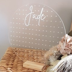 Personalised Acrylic Earring Holder - Large Circle - Perfect for Mothers day