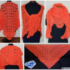 Coral Virus meets V-stitch Shawl