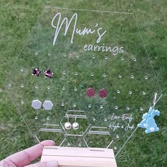 Personalised Acrylic Earring Holder - Hexagon - Perfect for Mothers day