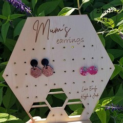 Personalised Pine Earring Holder - Hexagon - Perfect for Mothers day